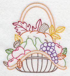 Autumn Bounty Basket Embroidery Library! - Color Change - K2964