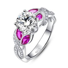 Horse Eye Gem Ruby Ring Infinity Handmade inlaid in 925 Sterling Silver Wedding Rings White CZ Retro Females Royal Jewelry