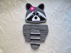 Crochet Raccoon Hat and Diaper Cover  Wildlife Animals