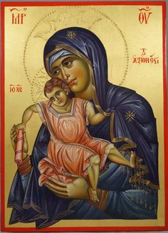 Panagia Axion Estin (halo relief) Hand-Painted Byzantine Icon #blessedmart #orthodoxy #byzantineart