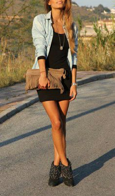 denim shirt simple black dress...I was just thinking I would wear my demin shirt and black dress but with tall boots