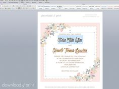 Customize the free vintage hanky invitation in MS Word | Download & Print