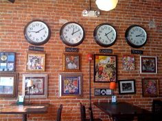World clocks great for anyone calling overseas regularly. Now all I need is 3 old clocks for my office wall. Barbershop Ideas, World Clock, Clock Ideas, Somewhere In Time, Clock Wall, Time Clock, Office Walls, Pizzeria, Barber Shop