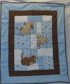 Quilt - Peek A B00 Puppy Applique Blue Baby Quilt, perfect for little boys, the softest flannels