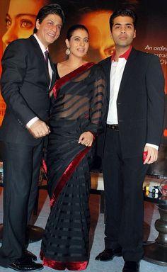Kajol in Sheer Black Saree - Bollywood Saree: GBC2134