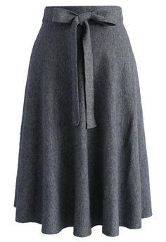 39d7f3cfcdf240 Tie the Warmth Soft Knit Midi Skirt in Grey - Bottoms - Retro