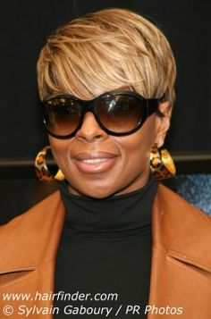 Mary J. Blige  (loving the short hair) Bold and Beautiful glasses
