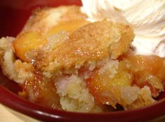Georgia Peach Cobbler. OMG-GOOD!! Only 4 ingredients: Sugar, Flour, Butter, and 28 oz Can of peaches. Prep Time: 10 Min.  Great this is just what I need... Lol