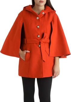 Euro Es-Cape Coat - Solid, Buttons, Winter, Long, 3, Casual, Holiday Party, Belted