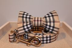 A personal favorite from my Etsy shop https://www.etsy.com/listing/267057674/cream-plaid-collar-with-optional-bow-tie