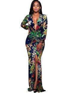 V Neck Long Sleeve Green Women s Maxi Dress f54a17b602f9