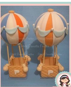 Peça mede +-28cm. Baby Shower Cakes, Baby Boy Shower, Hot Air Balloon Cake, Polymer Clay Disney, Fondant, Pig Party, Baby Boy Birthday, Polymer Clay Projects, Happy Baby