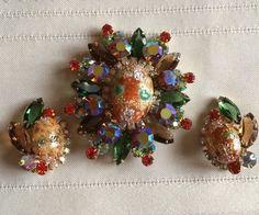 Juliana D & E Verified Easter Egg Burst Strippled Rhinestone Brooch Earrings Set #JulinanaDE