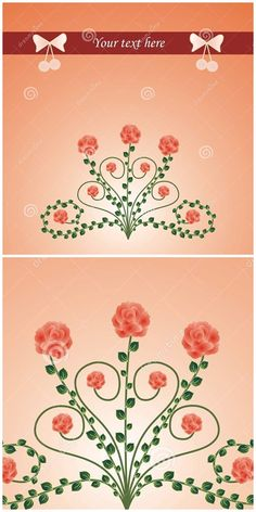#vector #illustration Beautiful #card with #roses, leafs and bows - useful for #valentinesday #mothersday #cards #gift #packaging