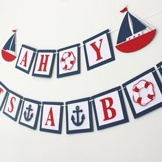 One with anchors high chair banner 1st birthday nautical themed nautical themed banner ahoy its a boy baby by mypinwheelparty pronofoot35fo Images