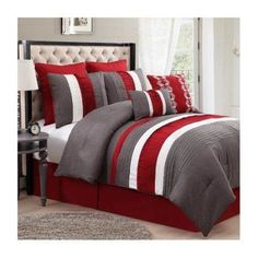 8-Piece Lawrence Comforter Set Red/Grey, King