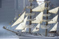 The tall ship from Ecuador Guayas sails past Manhattan May 23, 2012 in New York. The tall ship is participating in Fleet Week events in New York. AFP PHOTO/DON EMMERTDON EMMERT/AFP/GettyImages