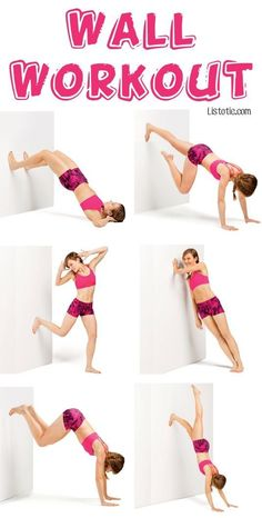 #1. Full Body Wall Workout -- No gym or equipment required! 7 Fun Exercise Ideas You Can Do From Home