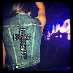 Denim Studded Cross Vest