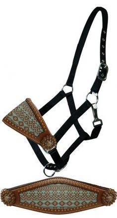 Showman Teal and brown Navajo diamond print bronc nose halter