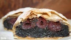 Meggyes-mákos rétes réteslapból | Nosalty Strudel, Cake Cookies, Deserts, Cooking Recipes, Sweets, Beef, Baking, Ethnic Recipes, Food