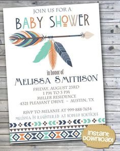 INSTANT DOWNLOAD - Navy Orange Teal Tribal Baby Shower Invitation - Tribal Feather Aztec Invitation - Tribal Arrows Pow Wow Feather - 0131: