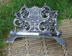 Vintage Napkin Letter Holder Stand Silver Tone Metal Ornate Filigree Elegant Classy Traditional Floral Design Fancy FREE SHIPPING by CREATIONSbySabine