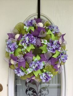 """22"""" Spring Green and Tan Burlap Deco Mesh Spring Wreath with Purple and Green Burlap Ribbons, Botanical Orbs, and Lavender Hydrangeas"""