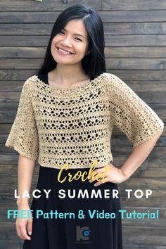 Crochet Lace Summer Top : FREE Crochet Pattern and Video Tutorial – Crochet Beau Crochet, Pull Crochet, Mode Crochet, Single Crochet Stitch, Crochet Tops, Crochet Sweaters, Crochet Shrugs, Crochet Summer Tops, Crochet Skirts