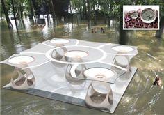 Diseño para prototipo inspirado en la flor de loto que responde los efectos de las inundaciones por estudiantes de la Escuela de Arquitectura de la Pontificia Universidad Católica de Puerto Rico.