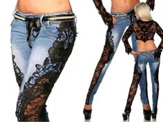 Lace diy jeans, I know they're not shirts but they're cool Fashion Casual, Diy Fashion, Fashion Outfits, Jeans Fashion, Ladies Fashion, Fashion Styles, Denim Ideas, Denim And Lace, Blue Denim
