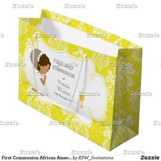 First Communion African American Girl Thank You Large Gift Bag Holiday Cards, Christmas Cards, First Communion Invitations, Custom Gift Bags, African American Girl, Large Gift Bags, Brunette Hair, Christmas Card Holders, Invitation Design