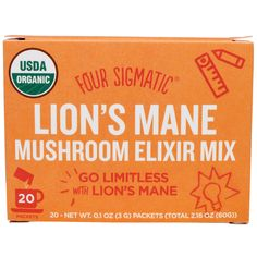 Four Sigmatic, Lion's Mane, Mushroom Elixir Mix, 20 Packets, 0.1 oz (3 g) Each. Mix with butter, coconut oil. Or put in a smoothie. Immune booster. High antioxidant. Energy boost.