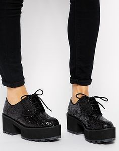 Enlarge Cheap Monday Black Tractor Hidden Glitter Heeled Shoes