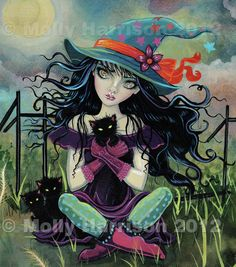 Gothic Witch and Black Cats Halloween Fine Art by MollyHarrisonArt, $14.00