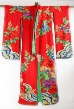 Vintage Japanese Red Kakeshita Wedding Kimono, Bridal Kimono by CJSTonbo on Etsy