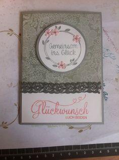 """Hochzeitskarte mit dem Set """"Perfekter Tag"""" und """"Something Lacy"""" in den Farben Schiefergrau und Kirschblüte"""
