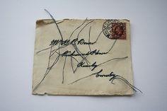 Embroidered Vintage Envelope www.facebook.com/elevenlife #envelope #design #art