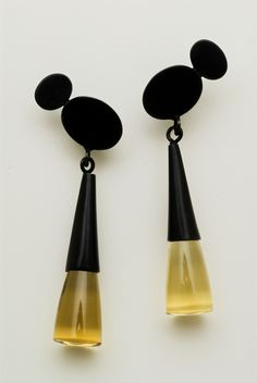 Olive Oyl earrings in oxidised silver with Quartz by Daphne Krinos