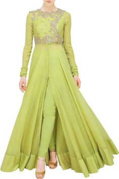 Green chanderi anarkali with green side jacket