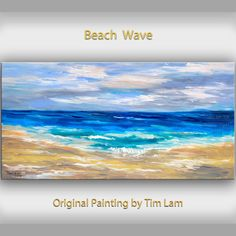 Art Original beach painting modern landscape painting bright blue abstract painting large fine art Rolling Wave 48 X 24