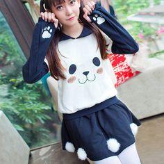 Cute bear sweatshirt sweater skirt suit