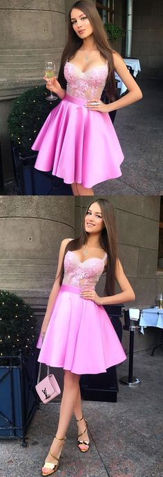 Short Graduation Dress, Pink Short Party Dress, Homecoming Dress #shortpromdresses