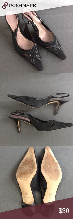 Ann Taylor black sling backs cutout pumps sz 10m In great condition. Suede leather combination.Leather upper and leather sole. Perfect 3.25inch heel. Pair it with your favorite slacks,skirt, or dress. Ready to ship! Ann Taylor Shoes Heels