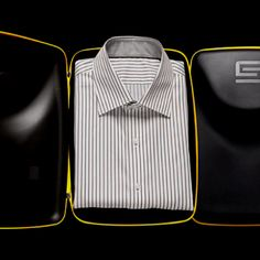 Shirt Shuttle's patented design protects a single folded shirt from creasing while traveling. Men's Style, Menswear, Mens Fashion, Suits, My Love, Mens Tops, Clothes, Products, Male Style