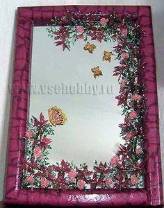 Decoupage, perles fleurs et papillon peinture sur miroir