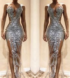 2019 V Neck Evening Dresses Party Dress Sequined Formal Dress Vestido High Quality Robe De Soiree Silver Evening Gowns Tulle, Pretty Dresses, Sexy Dresses, Fashion Dresses, Formal Dresses, Couture Dresses, Quince Dresses, 15 Dresses, Wedding Dresses, Bridal Gowns