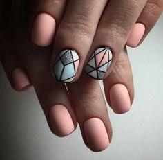 Pastel Nails: 35 Creative Pastel Nail Art Designs - Part 13 Ongles Beiges, Pastel Nail Art, Colorful Nails, Pink Art, Geometric Nail Art, Geometric Designs, Manicure E Pedicure, Manicure Ideas, Super Nails