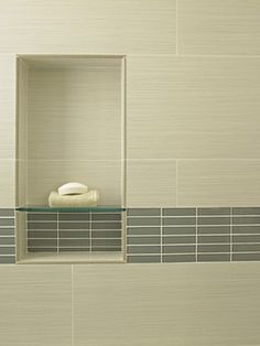 great idea for an inset - glass shelf in tile grout, like the mosaic tile color too Danville Remodel - contemporary - bathroom - san francisco - Fiorella Design Bathroom Niche, Shower Niche, Shower Alcove, Neutral Bathroom, Bath Shower, Contemporary Bathrooms, Contemporary Interior, Contemporary Cottage, Contemporary Wallpaper