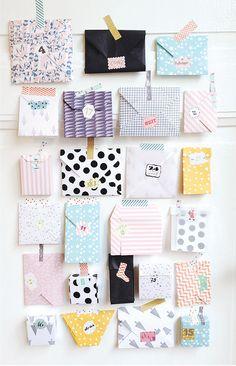 #memobaby Un calendrier fait d'enveloppes, tout simple et super moderne ! Je ne sais pas vous, mais moi j'adore !